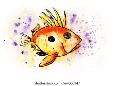 Illustration of sunfish character. Watercolor sea fish sketch with blots