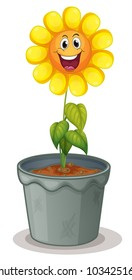 Illustration of sunflower with face - EPS VECTOR format also available in my portfolio.
