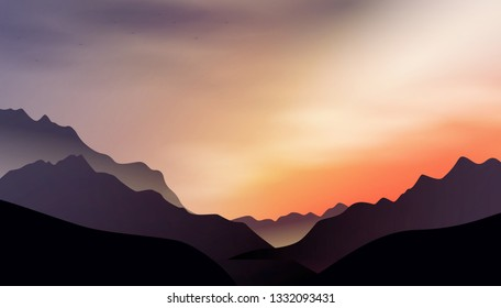 an illustration with a sunset in the mountains