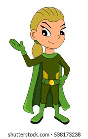 Illustration of super hero girl wearing green costume and cape, isolated on a white background