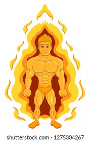 Illustration of a super hero man with fire-based powers in flames, isolated on a white background