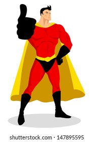 Illustration of a superhero doing thumbs up