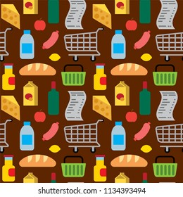 illustration of supermarket food and drinks seamless pattern