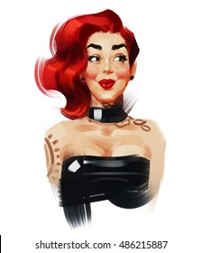 Illustration of surprised woman with a red hair and tattoo on her neck. Pin-up style. Isolated on a white background.