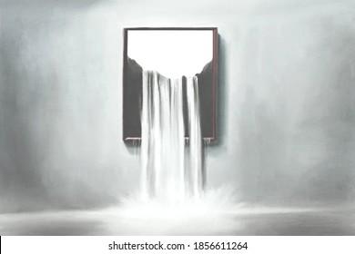 Illustration von surrealen Wasserfallmalereien, denken Sie außerhalb des Boxkonzepts