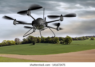Illustration of a surveillance drone searching the countryside