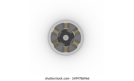 Illustration of a switched electric reluctance motor as used in electric vehicles on a white background.