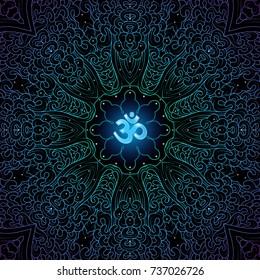 Illustration of symbol Om and mandala on black background.