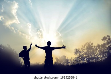 the illustration symbol of success in business or congratulations a good life in silhouettes style on beautiful power in sky