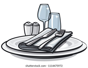 illustration of table setting with knife, fork and glasses on table
