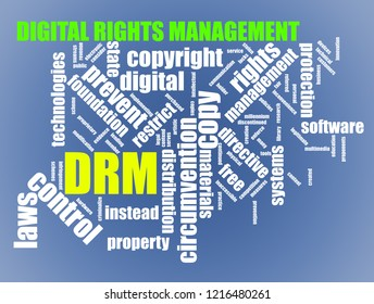 Illustration of tags wordcloud of drm digital rights management