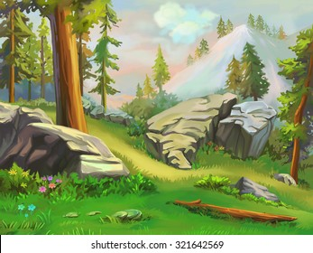 Illustration: Take a short rest in the mountain woodland. Fantastic Cartoon Style Wallpaper Background Scene Design.