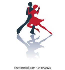 Illustration of tango dancers pair silhouettes with a shadow. Isolated on white background. Good for logo.