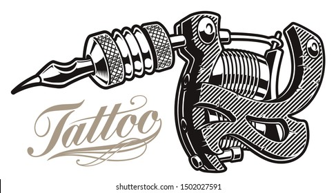 Illustration of a tattoo machine on a white background. All items are in separate groups.