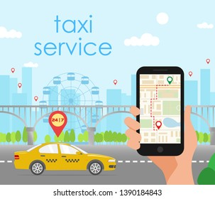Illustration of taxi service elements: cars, map,  hand with smartphone isolated on light  blue city landscape. Flat style. Good for advertisement, banners, posters and  cards.