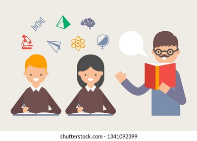 Illustration of teacher teaching students