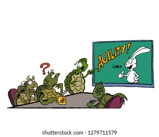 Illustration of a team of turtles considering to work with an agility coach
