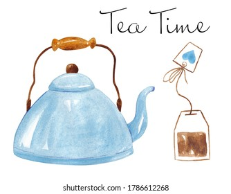 Illustration of teapot with tea isolated on white background. Watercolor kettle