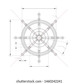 Illustration of technical drawing of yacht wheel.