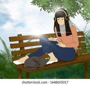 Illustration teenager sitting on the bench with sleeping cat  and listening to music from head phone, Digital paint a girl relaxing in the park in sunny day summer, working woman darwing on tablet