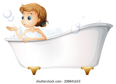 Illustration of a teenager taking a bath at the bathtub on a white background