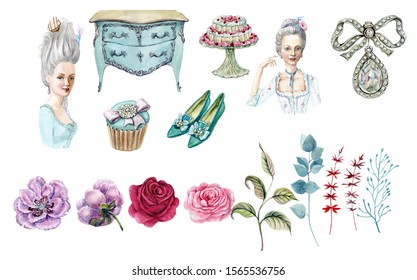 Illustration of tender rose and silk shoes Baroque