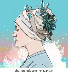 Illustration Textures Collage: Woman in a headdress of plants