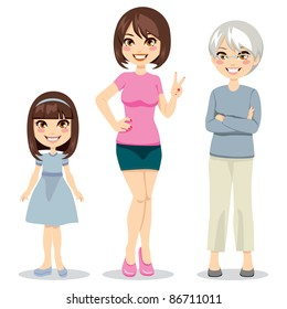 Illustration of three ages of women from child to senior