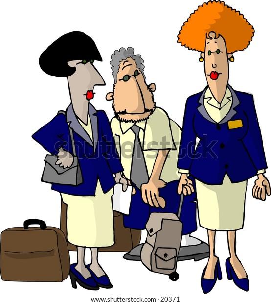 Illustration of three airline flight attendants in uniform.