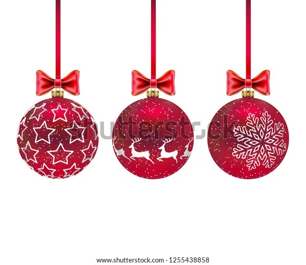 Illustration Three Christmas red balls with and bows isolated on white background.