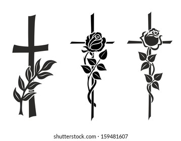 illustration of three different crosses with roses