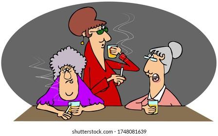 Illustration von drei älteren Frauen, die Whiskey trinken und Zigaretten an einer Bar rauchen.