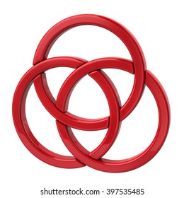 Illustration of three red rings isolated on white background