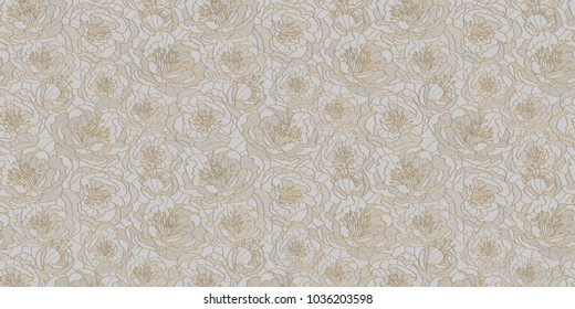Illustration of three-dimensional tender flowers of gold on a relief against a white background. 3 d render. Can be used as background, splash, texture of fabric, floral ornament, wallpaper