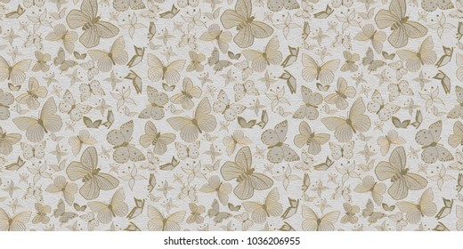 Illustration of three-dimensional tender flowers of golden color with butterflies on a relief against a white background. 3 d render. Can be used as background, splash, texture of fabric, wallpaper