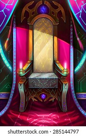 Illustration: The Throne belongs to the Paramount Queen of Light - It's one of scenes about an imaginary future empire. - Scene Design - Sci-Fi Topic