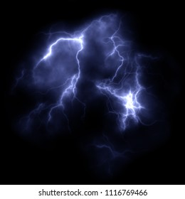 Illustration of a thunder lightning in the night
