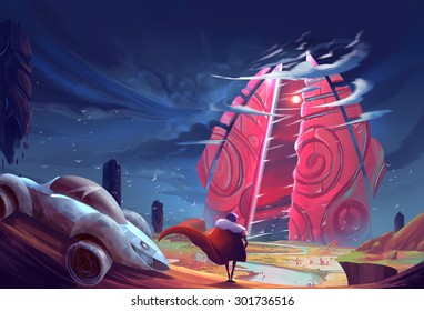Illustration: The Time Gate opened. The outsider stopped his car and walked towards it. Realistic Style. Sci-Fi Topic. Scene / Wallpaper / Background Design.