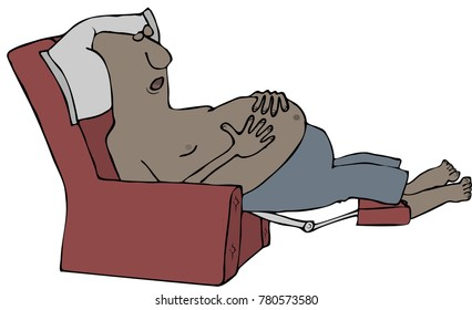 Illustration of a tired, shirtless black man sleeping in a green recliner chair.