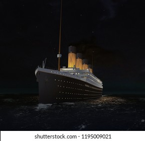 Illustration of the Titanic in the Sea at Night