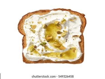 Illustration. Toilette avec houmous, huile d'olive et pistaches écrasées. Aquarelle, dessinée à la main, art numérique.