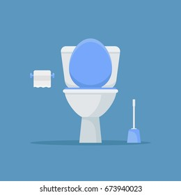 Illustration of toilet bowl, paper and brush on blue background.