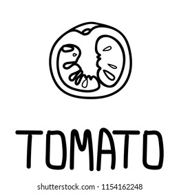 Illustration of the tomato slice, hand-drawn only in black outline placed with hand-drawn lettering.