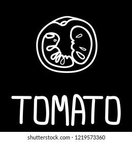illustration of the tomato slice, hand-drawn only in white outline placed with hand-drawn lettering on a black background.