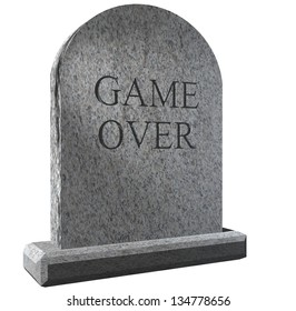 Illustration of a Tombstone with Amusing Game Over message