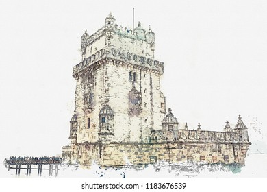 illustration. Torre de Belem or the Belem Tower is one of the attractions of Lisbon. The fortress was built in 1515-1521. Located in Belem district