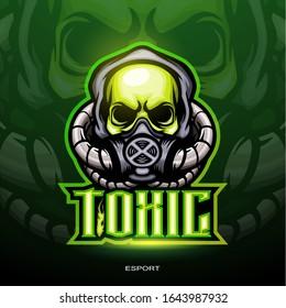 Illustration of Toxic skull mascot logo for electronic sport gaming logo.