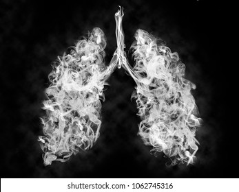 Illustration of a toxic smoke in Lung . lung cancer concept