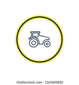 illustration of tractor icon line. Beautiful transportation element also can be used as agriculture car icon element.