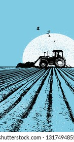 Illustration of a tractor on a field in front of a sun in blue colours and grungy textures